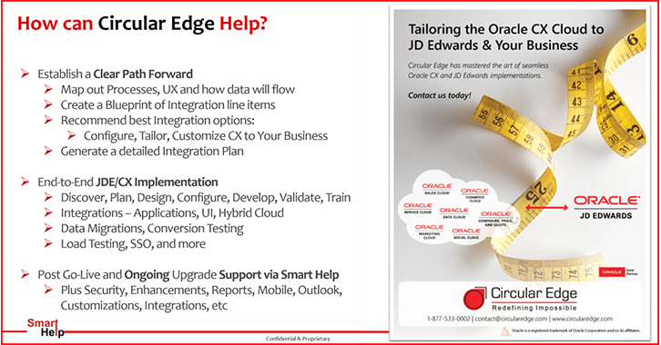 CE Tailoring Oracle CX to JDE
